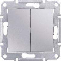 Выключатель 2-клавишный, алюминий - Schneider Electric Sedna (SDN0300160)