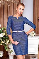 Стильное приталенное  платье в горошек  Хетти-11  42-44 размеры