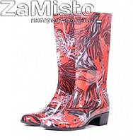 Сапоги резиновые женские на каблуке с рисунком ПС 17 С
