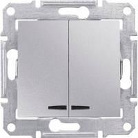 Выключатель 2-клавишный с подсветкой, алюминий - Schneider Electric Sedna (Код: SDN0300360)