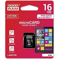 Карта памяти microSDHC (UHS-1) GoodRam 16Gb class 10 (adapter SD)