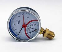 Манометр термометр радиальный IMT80, 6bar-0-120°С-2,6-G1/2 с красным индикатором