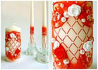 Свечи свадебные, набор 3 шт. Цвет красный.