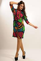 Платье Арабика с ярким сочным принтом полуприлегающее