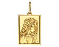 Прямоугольная золотая подвеска 585* пробы с рисунком святой девы