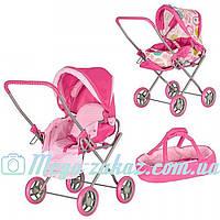 Детская коляска-трансформер для кукол Sweet Pink: люлька + корзина для игрушек