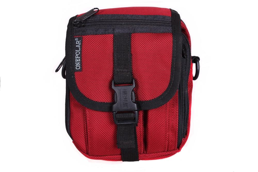 Мужская тканевая сумка на пояс красная