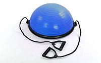 Bosu балансировочная платформа (пластик, резина, h-25 см, d-58 см, 4500 гр, 2 эспандера, цвета в ассортименте)