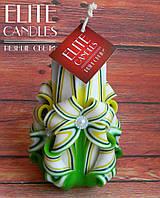 Свеча резная ручной работы 12 см высотой, зелено-желтой окраски, украшена белыми бусинками