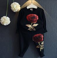 """Спортивный костюм для девочки """"Роза"""" черный"""