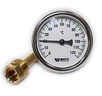 Термометр биметаллический Watts, осевой, с погружной гильзой, диапазон 0-120°, класс точности 2,5