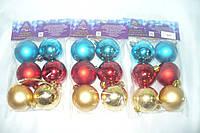 Новогодние шары  6 штук  5см кулек мат, фото 1