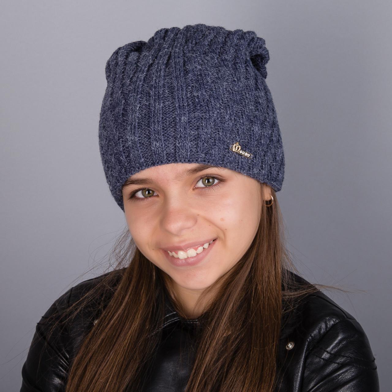 Стильная шапка для девочек, подростков и женщин из двойной крупной вязки оптом - зима  - Артикул 1796