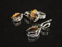 Набор из  тигрового глаза , кольцо и серьги