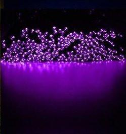 Светодиодная гирлянда на солнечной батарее 100 LED фиолетовый 12м