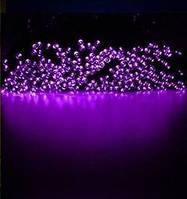 Светодиодная гирлянда на солнечной батарее 100 LED фиолетовый 12м, фото 1