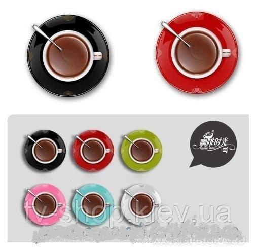 """Настенные часы """"Чашка кофе на блюдце"""" (розовый)"""