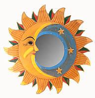 Зеркало настенное деревянное Луна и солнце