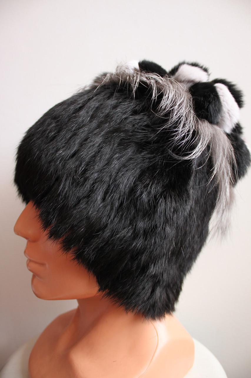 Жіноча хутрова шапка з кролика+чорнобурка на трикотажній основі, від виробника, кубанка