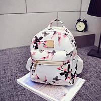 Шикарный белый женский рюкзак из кож зама.