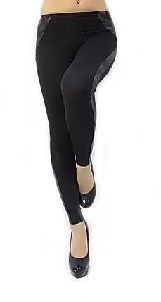 Женские лосины № 219 черные с серебристыми  кожаными вставками , фото 2