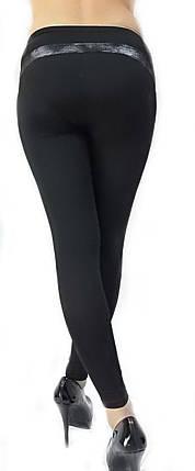 Жіночі лосини № 219 чорні з сріблястими шкіряними вставками, фото 2