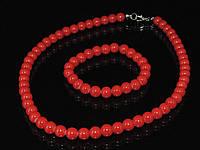 Набор из маерки (браслет+бусы), красный