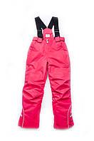 Детский полукомбинезон для девочки, зимние брюки для девочки на бретелях  (розовый)