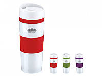 Термокружка для напитков peterhof 400 мл белая с красным (ph-12418-rd)