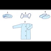 Комплект одягу для відвідувача  №6 шапочка-берет,маска, халат, бахіли (спанбонд)