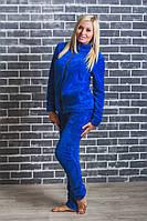 Махровая женская пижама (42-54 р-ры)  электрик, фото 1