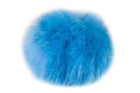 Бубон из натурального меха кролика (ярко голубой)