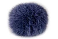 Бубон из натурального меха кролика (тёмно-синий)