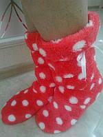 Махровые женские сапожки с бантиком