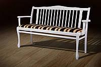 "Лавка ""Версаль"" 130х57х88 см. Белая, ткань: Jakard Poliester 1901/5"