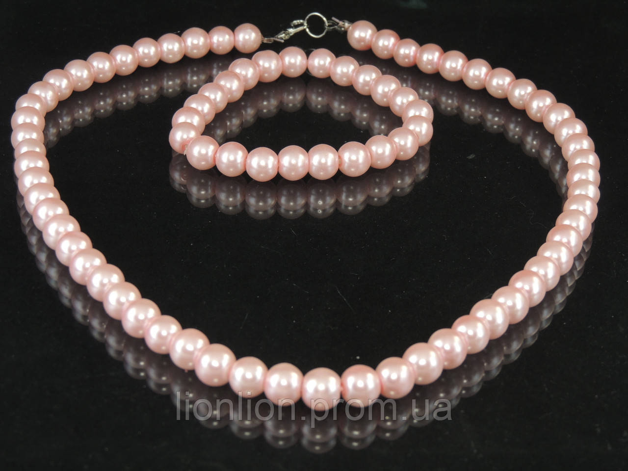 Набор из маерки (браслет+бусы), розовый