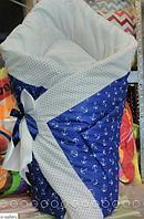 """Одеяло-конверт на выписку на липучке с красивым бантом (осень, зима, весна), 90х90- """"Морячек"""""""
