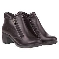 Женские ботильоны Selesta (кожаные, с замками по сторонам, стильные, удобные, на комфортном каблуке)