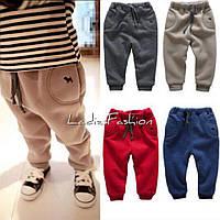 Детские тёплые штанишки, Трехнитка на флизе, Цвета красный,синий,темно-серый ал №08256