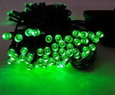 Светодиодная гирлянда на солнечной батарее 100 LED зелёный 12м