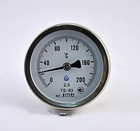 Термометр биметаллический ТБ 63 осевой, 0-200 градусов, хромированный корпус, G1/2, с поверкой