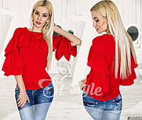Стильная блуза из шифона с воланами