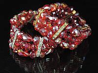Браслет из хрусталя в 3 ряда,шар и капля, красный