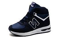 Кроссовки зимние NEW DUAL 520, высокие, унисекс, на меху, темно-синие, фото 1