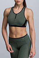 Жіночий еластичний спортивний топ на змійці кольору хакі розмір XS