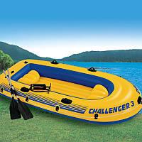 Intex 68370 Трехместная надувная лодка Intex Challenger-3 Set