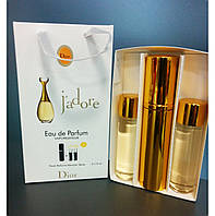 Подарочный набор, Мини парфюм Christian Dior J'adore (Кристиан Диор Жадор) + 2 запаски, 3*15 мл