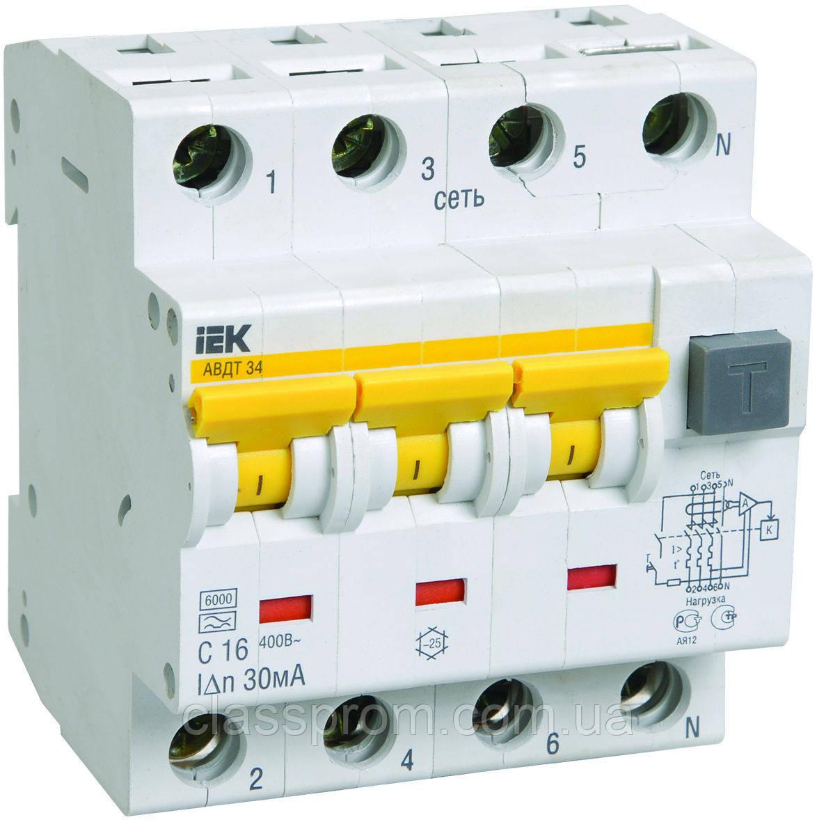 Автоматические выключатели дифференциального тока АВДТ34 C16 10мА IEK