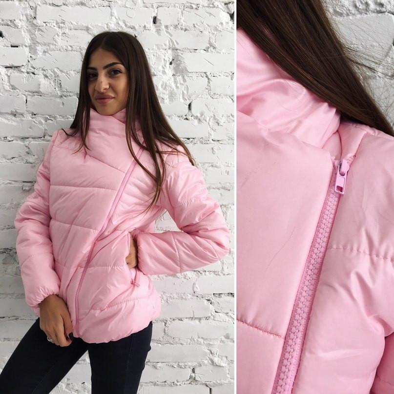 0797b879d711 Женская розовая куртка косуха -