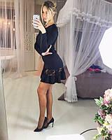 Женское приталенное платье нарядное черное дайвинг с кружевом 610/02 ЛЛ